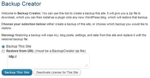 Backup Creator WordPress Plugin