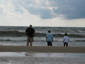Derek and the boys at the beach
